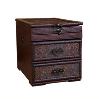 HIPSTEEN Chinese Style Classical Wooden Jewellery Box Dressing Case with Mirror for Storage Red