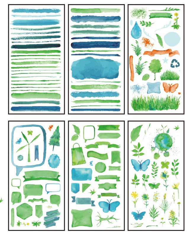 P21- Green Light Diy Decorative Sticker(1pack=6pieces)