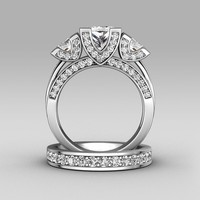 Victoria Wieck Princess Cut Three Stone 8ct Topaz Simulated Diamond 925 Sterling Silver Women Engagement Wedding