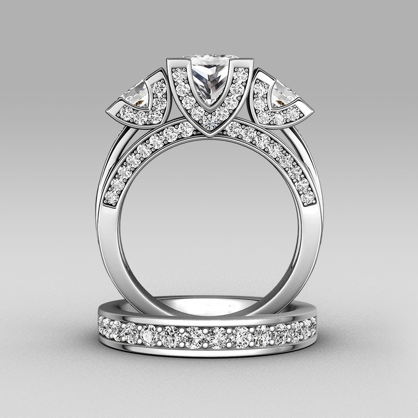Aliexpresscom buy choucong princess cut three stone 8ct for Three stone wedding ring set
