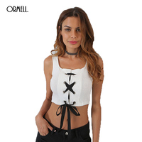 ORMELL Summer 2017 New Solid White Cotton Crop Top Ladies Vest Fashion Cropped Women Bandage Short