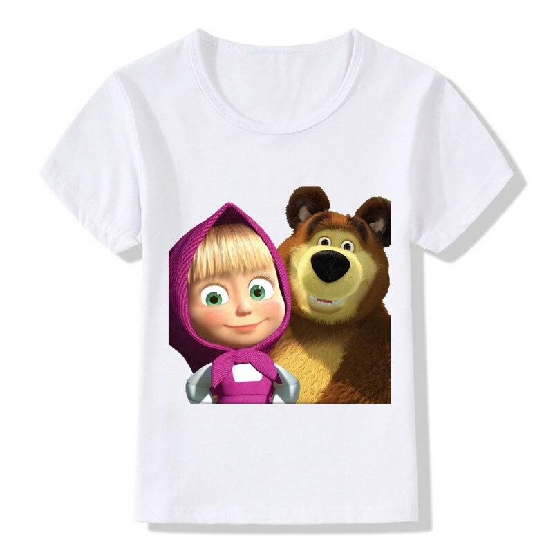 Baby Boys And Girls T Shirts Kids Cartoon Jane and Bear White T Shirts Soft Loose Cute Sweet Casual Kid Tshirt Children Clothing
