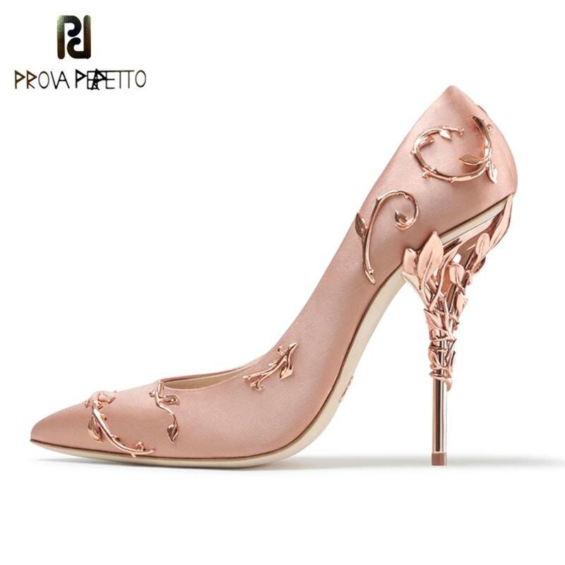 Prova Perfetto Luxury Brand Women Pumps Pointed Toe Flower Heel Wedding Shoes Women Elegant Silk Brand Design High Heels Pumps