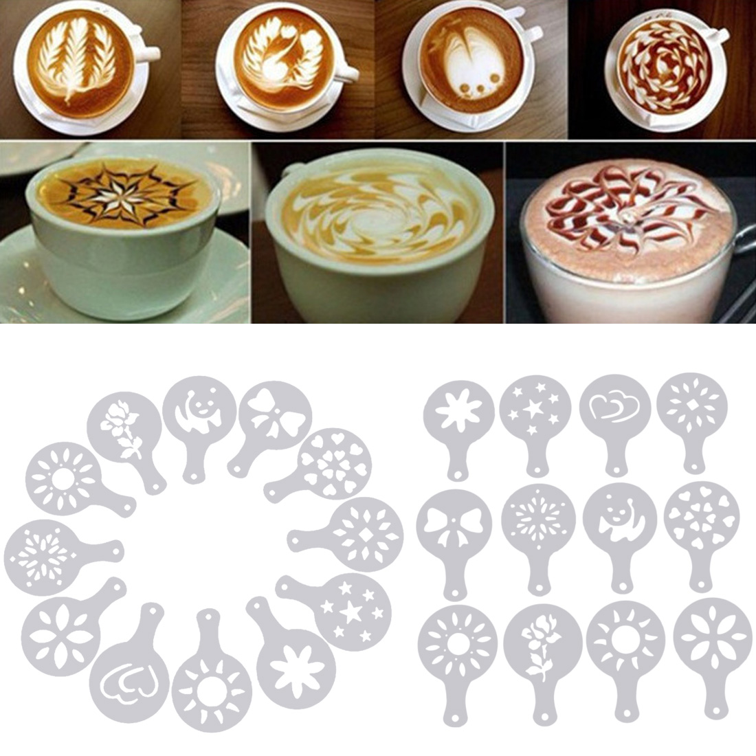 12pc Cappuccino Barista Art Drawing Coffee Stencils Foam Spray  Templates Stencils Cake Duster  Coffee Printing Mold