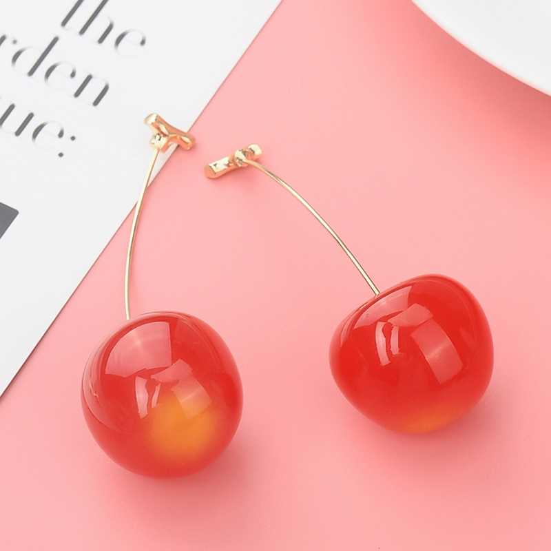 Resin Cute Red Cherry Fruit Dangle Earrings For Women Lovely Sweet Fruit Fresh Round Cherry Earrings Summer Jewelry Gift