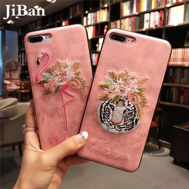 separation shoes e01bb a2e58 US $4.99 |POBLU For iPhone X Case Luxury Embroidery Flower Flamingo & Tiger  Glitter PU Leather Case Soft Pink Cover for iPhone 6s 7 8 Plus-in Fitted ...
