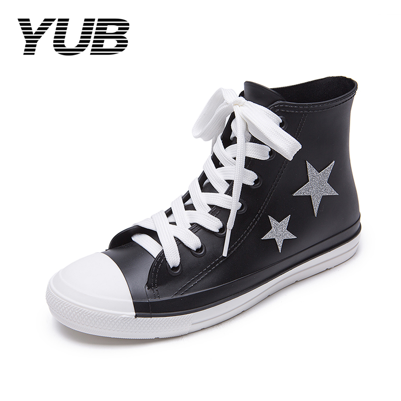 YUB Brand Lady's Rain Boots with Star Printed Lace Up Waterproof Rubber Shoes for Women Size 5-10 yub brand waterproof rain boots for women with solid color slip on winter mid calf shoes for girls