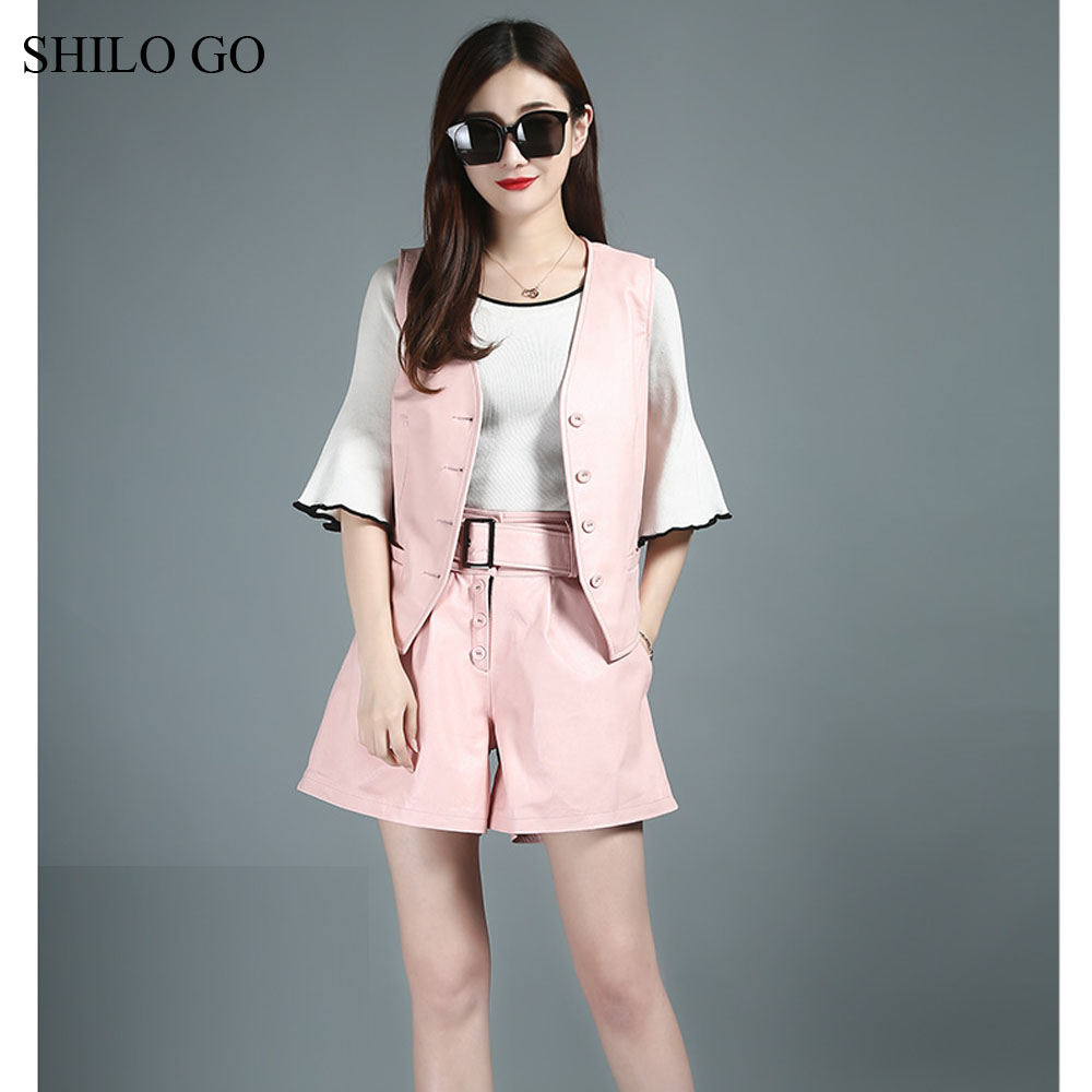 SHILO GO Leather Sets Womens Autumn Fashion sheepskin genuine leather suit Pink single breasted short Vest leather belt shorts