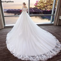 Vestido De Noiva Ivory Short Sleeve Boat Neck Princess Wedding Dresses 2018 Royal Train Appliques Lace Birdal Gowns Plus Size