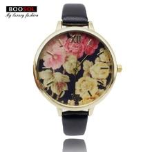 BOOSOL Women Fashion Quartz Watch flower Leather Ladies Wristwatches Dress Women's Gifts relogio feminino hodinky montre femme