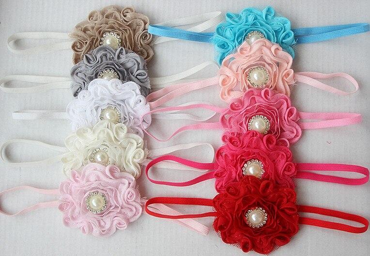 Swirl Shabby flower headband ,Frayed Flower on Skinny Elastic Headband With pearl Rhinestone ,Fit Newborn - Adults 100pcs