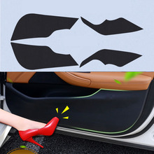 4pcs Car Door Side Edge Anti kick Protection Film Carbon Fiber Sticker For Honda FIT