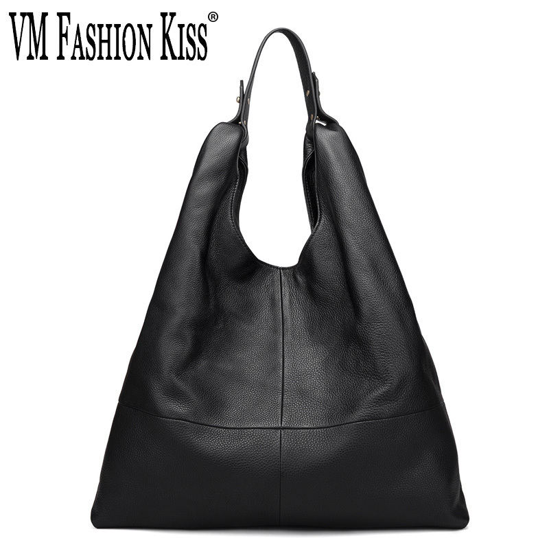 VM FASHION KISS 2018 Big Genuine Leather Women Hobos Casual Solid Soft Real Cowhide Casual Top-Handle Shoulder Crossbody Bags fashion solid color soft genuine leather top handle bag stone texture cowhide zipper cover women handbag shoulder crossbody bags