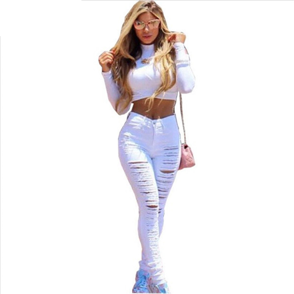 Fashion Ripped Jeans High Waist Skinny Stretchy Destroyed Women Pants Trousers Sexy Hole Jeans Woman Black White Pencil Jeans ripped jeans for women 2016 high waist woman skinny pencil pants sexy holes black ripped jeans slim elastic trousers for women