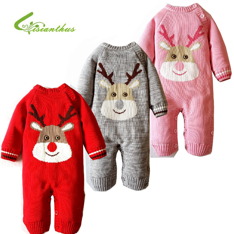 Baby Rompers Winter Thick Climbing Clothes Newborn Boys Girls Warm 100% Cotton Romper Knitted Sweater Christmas Deer Outwear baby rompers o neck 100