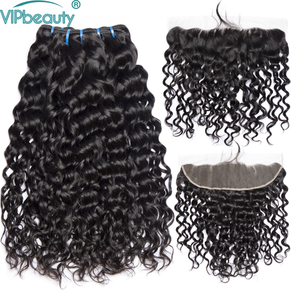 Vip beauty Brazilian water wave 3 bundles with frontal non remy hair extensions human hair bundles