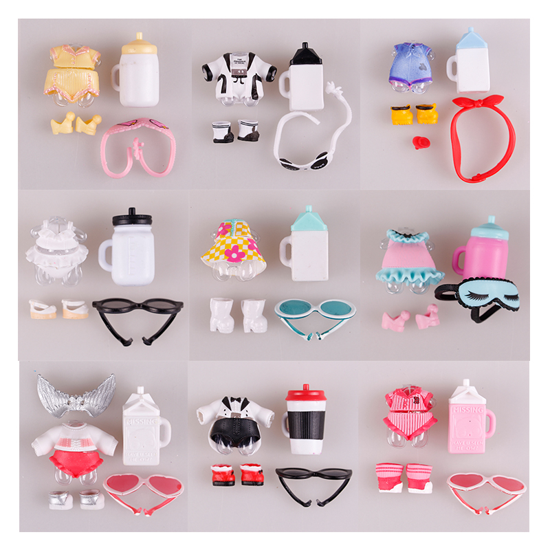 1 set LOL Doll clothes glasses bottle shoes Accessorries lol accessories on sale Original LOL dolls collection drop shipping earrings