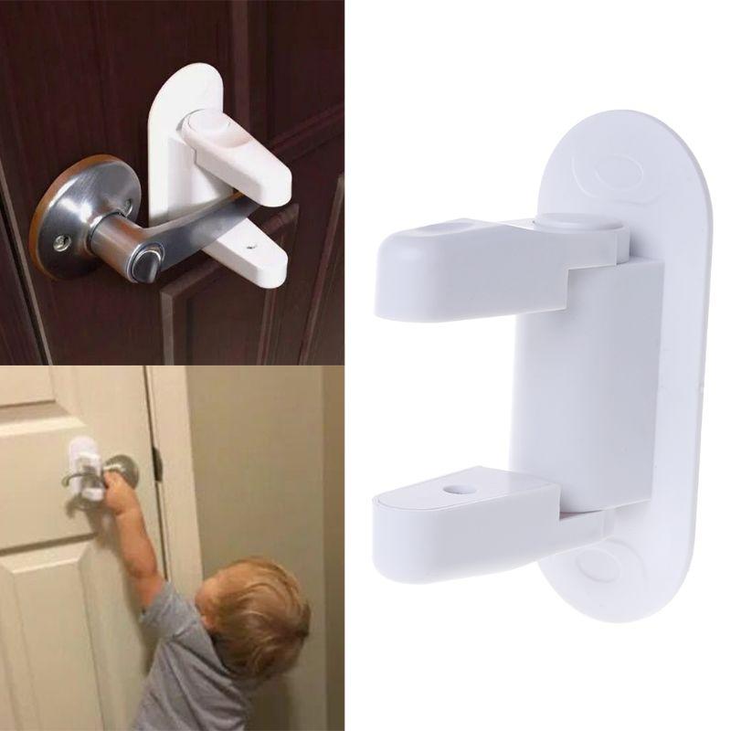 Baby Safety Lock Door Lever Home Newborn Kids Children Protection Doors Handle Universal Adhesive
