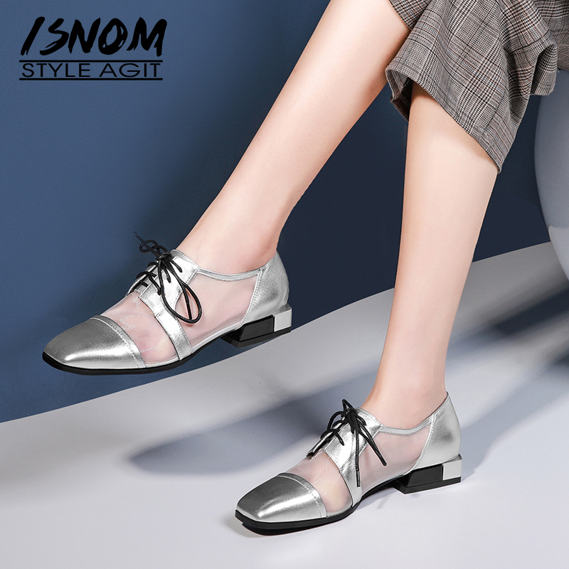 ISNOM Patent Leather Pumps Women Summer Low Heels Pumps Woman Mesh Lace Up Shoes Female 2019 New Fashion Dress Shoes LadiesISNOM Patent Leather Pumps Women Summer Low Heels Pumps Woman Mesh Lace Up Shoes Female 2019 New Fashion Dress Shoes Ladies