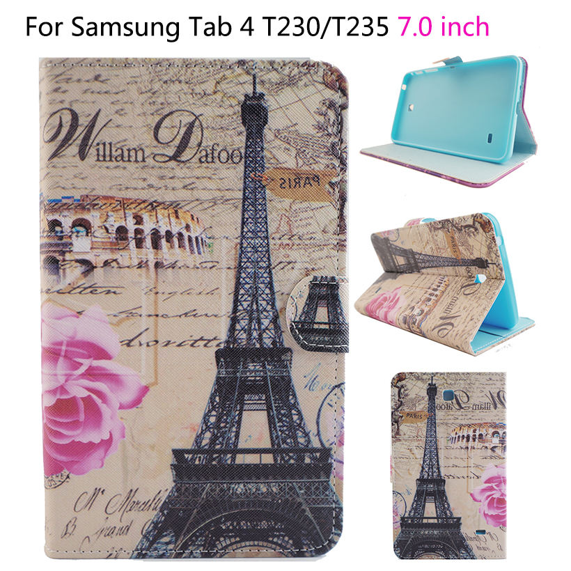 Tablets Case For Samsung Galaxy Tab4 7 7.0 SM-T230/T231 Flip Smart Stand PU Leather Silicone Case Kids Cover With Card Slot