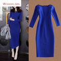 2016 New Arrival Women's Autumn Clothing Long Sleeve Zipper High Quality O-Neck Plus Size Female Slim Sexy  Pencil Dress S-2XL
