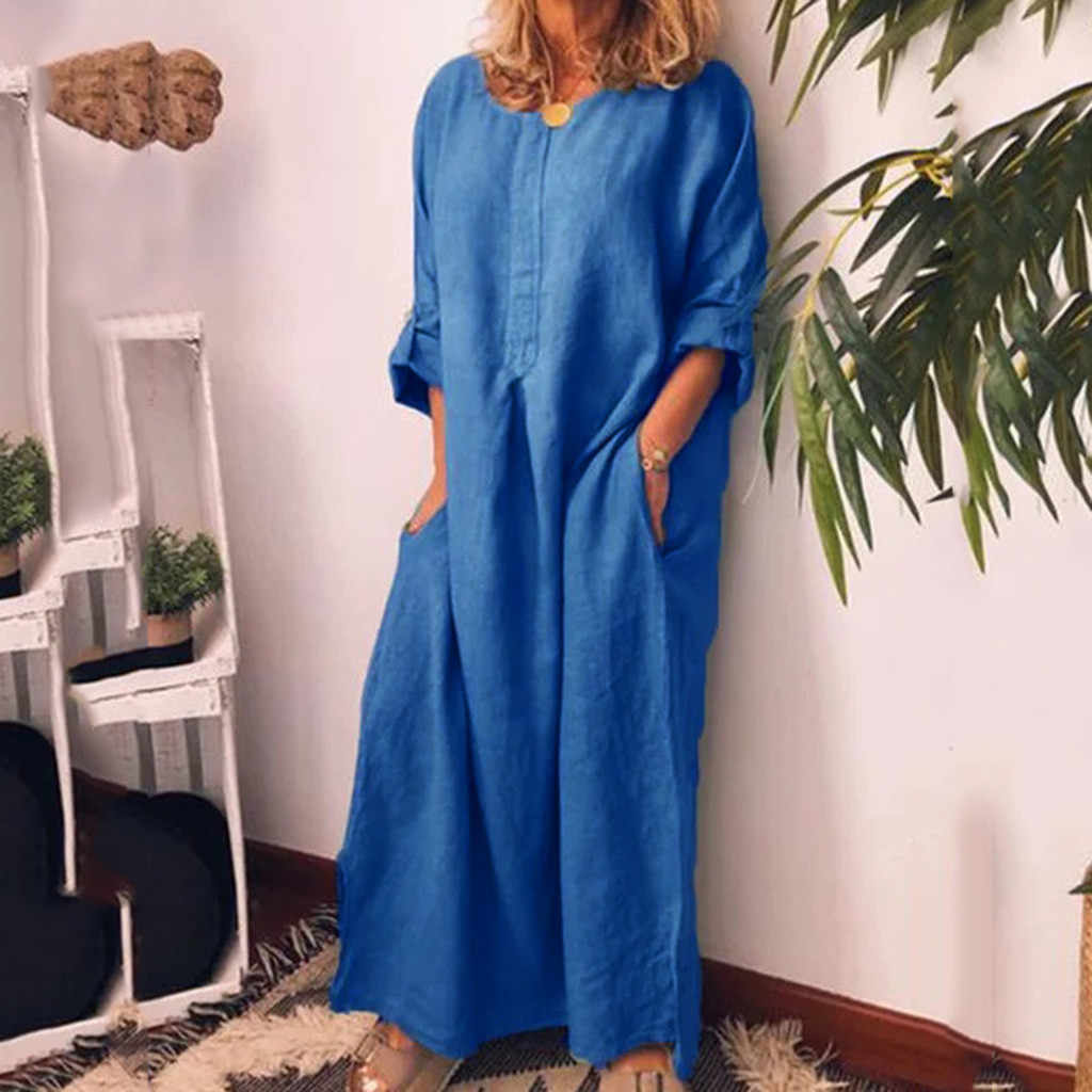 Femmes robe Boho Style à manches longues col rond tenue décontractée été plage coton Maxi robe avec poches en vrac élégant Ropa Mujer