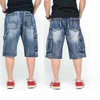 Muiti Pocket Knee Length Denim Shorts For Men Summer Hip Hop Dance Loose Fit Man Baggy Cargo Jean Shorts Big Size