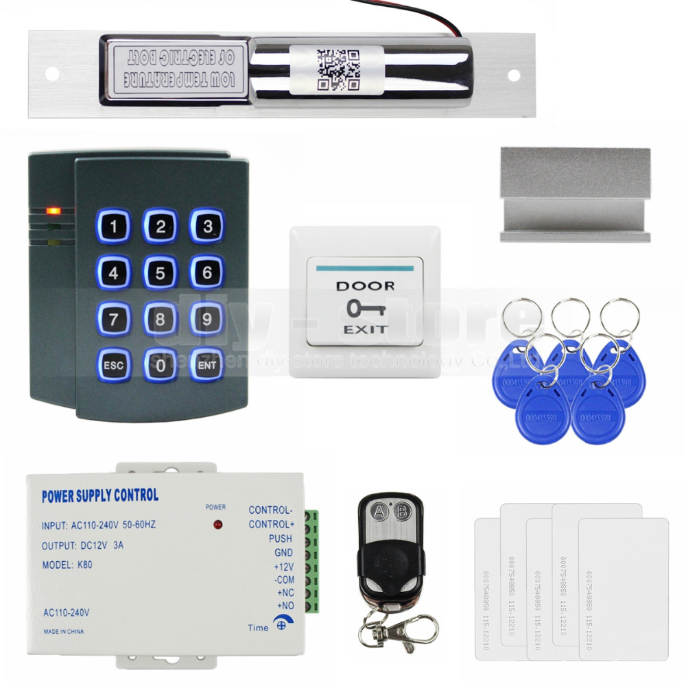 DIYSECUR Complete 125KHz RFID Keypad Access Control System Kit + Electric Bolt Lock + Power Supply