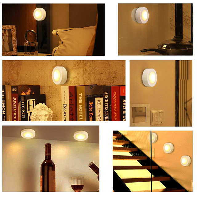 Warm white+White Double Color Dimmable Touch Sensor LED Under Cabinets lights Wireless LED Puck Lights led Closet Kitchen Lights