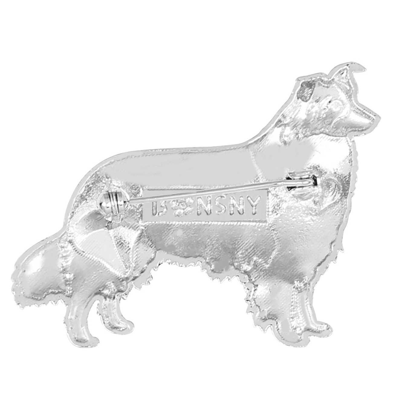 WEVENI Men Hợp Kim Rhinestone Biên Giới Collie Dog Trâm Cài Động Vật Trang Sức Pin Pin Cho Phụ Nữ Cô Gái Món Quà Khăn Trang Trí Phụ Kiện