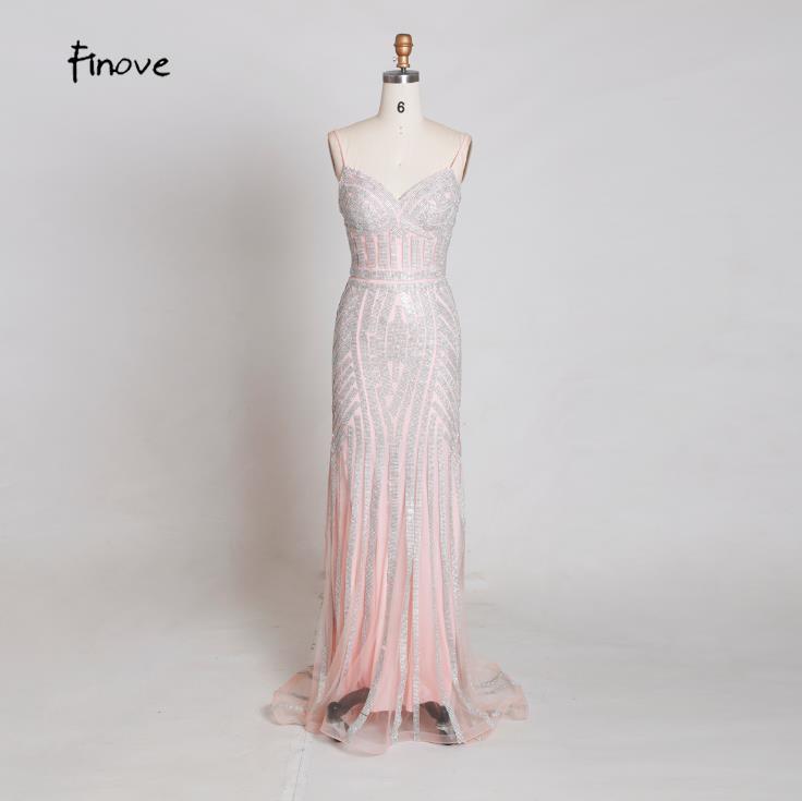 Finove/Вечерние платья цвета шампанского, элегантные сексуальные вечерние платья без рукавов с v-образным вырезом, украшенные кристаллами и бисером, длинные платья для выпускного вечера для женщин - Цвет: Pink and Silver