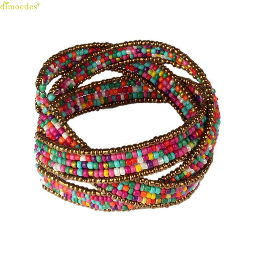 HOT Brand New Fashion Lady Bohemian Beaded Bangle Bracelet Multilayer Jewelry
