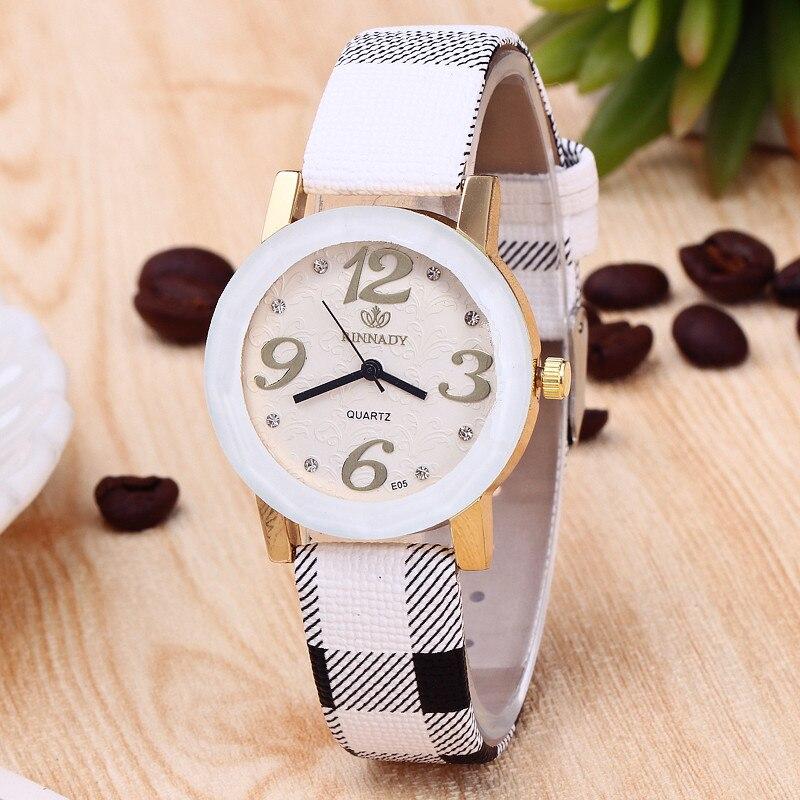 women watches Simple Big number Plaid Leather Quartz Watch Women Dress Watches Girl Hour montre femme relogio feminino 39mm big women dress watches 100