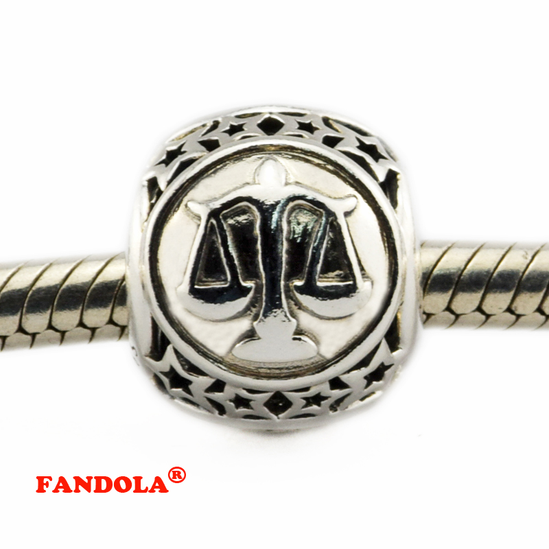DIY Fits Pandora Bracelets Libra Star Sign Beads 925 Sterling Silver Jewelry Charms for Women Free Shipping