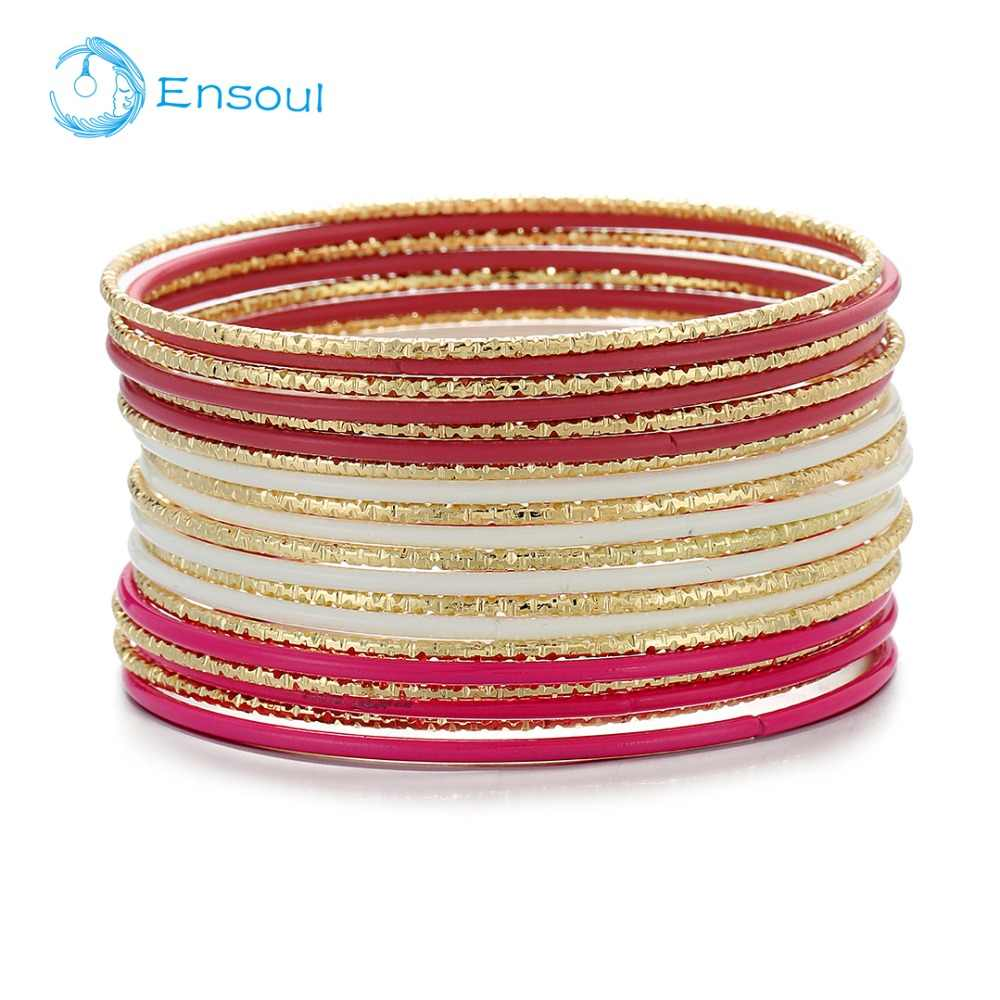 Ensoul 2019 New Style Shiny Gold with White/Fuchsia Tone Color Flower Mixed Metal Women/Girls Bangles&Bracelets Set of 20