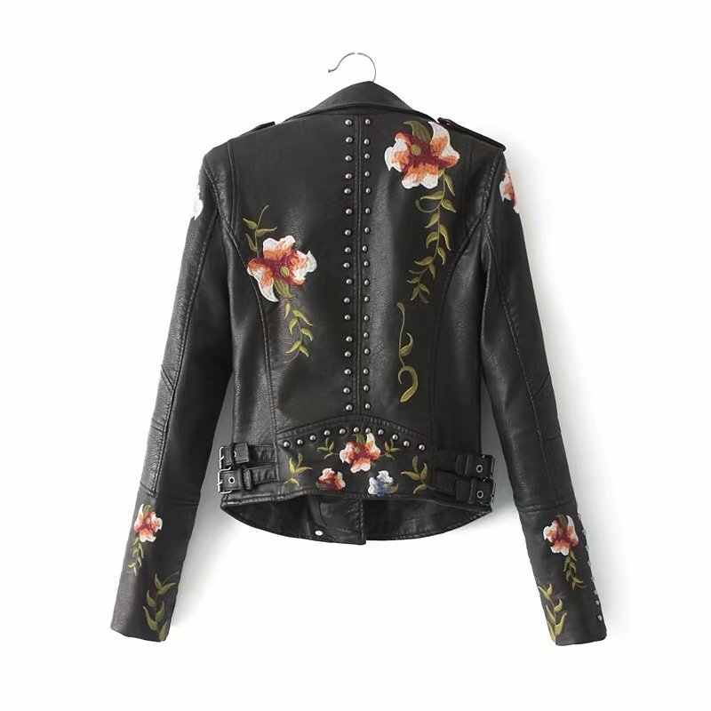 Women Floral Print Embroidery Faux Soft Leather Jacket Coat Turn-down Collar Vintage Pu Motorcycle Black Punk Outerwear