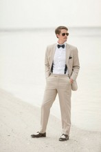2016 Slim Fit Linen Beach Wedding Men Suits Custom Made Tuxedos Groomsman Wear Best Man Bridegroom