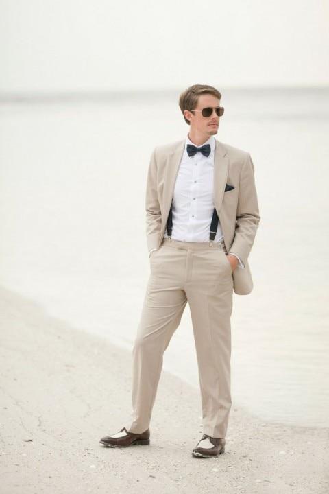 2016 Slim Fit Linen Beach Wedding Men font b Suits b font font b Custom b