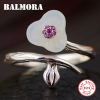 BALMORA 925 Sterling Silver Chalcedony & Zircon Flower Rings for Women Mother Lover Gift Open Ring Cute Fashion Jewelry TRS21990