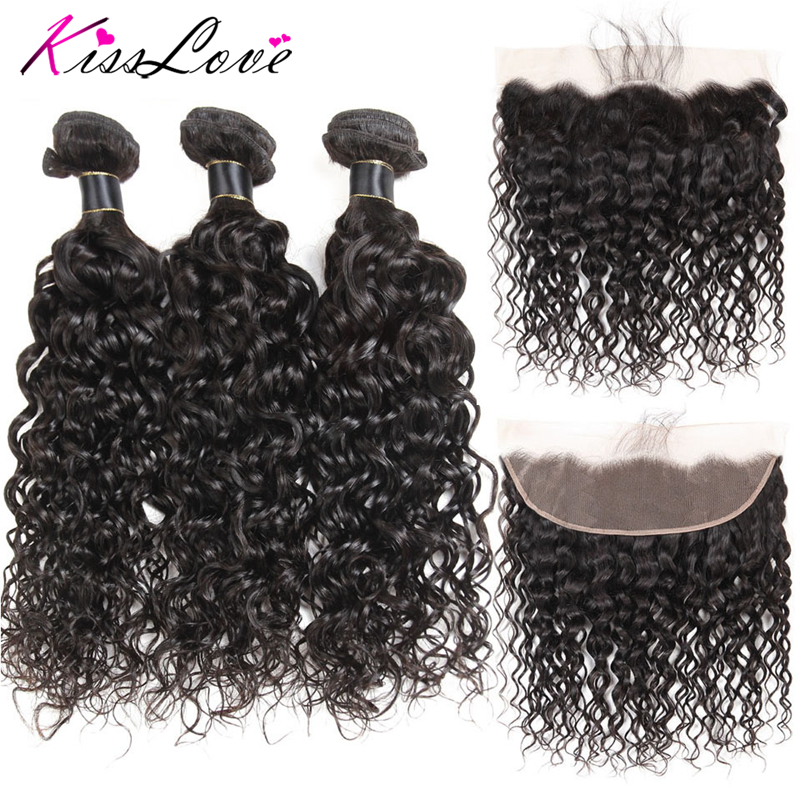 Kiss Love Mongolian Water Wave Hair 3 Bundles With Frontal  Human Hair Lace Frontal Closure With Closure Free Shipping
