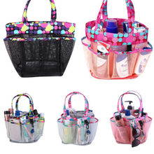 8 Pockets Mesh Shower Tote Wash Bag Pouch Hangable Bathroom Caddy Storage Package Bags Beach Travel Organizer Case Container
