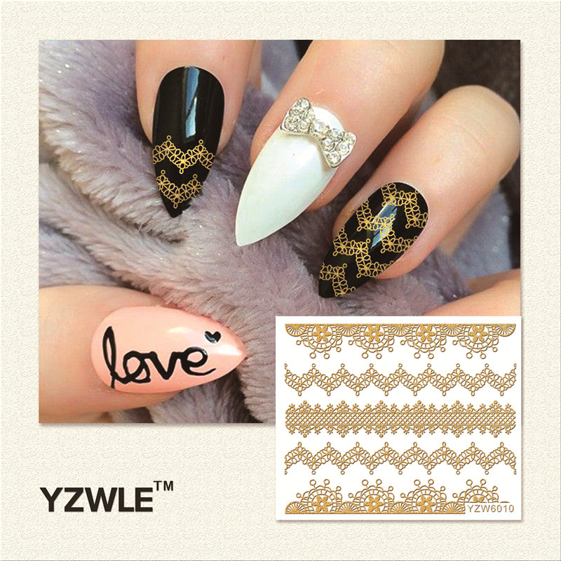 WUF 1 Sheet  Hot Gold 3D Nail Art Stickers DIY Nail Decorations Decals Foils Wraps Manicure Styling Tools (YZW-6010) yzwle 1 sheet new nail art full cover blue flower stickers decals water transfer wraps decorations manicure care tools