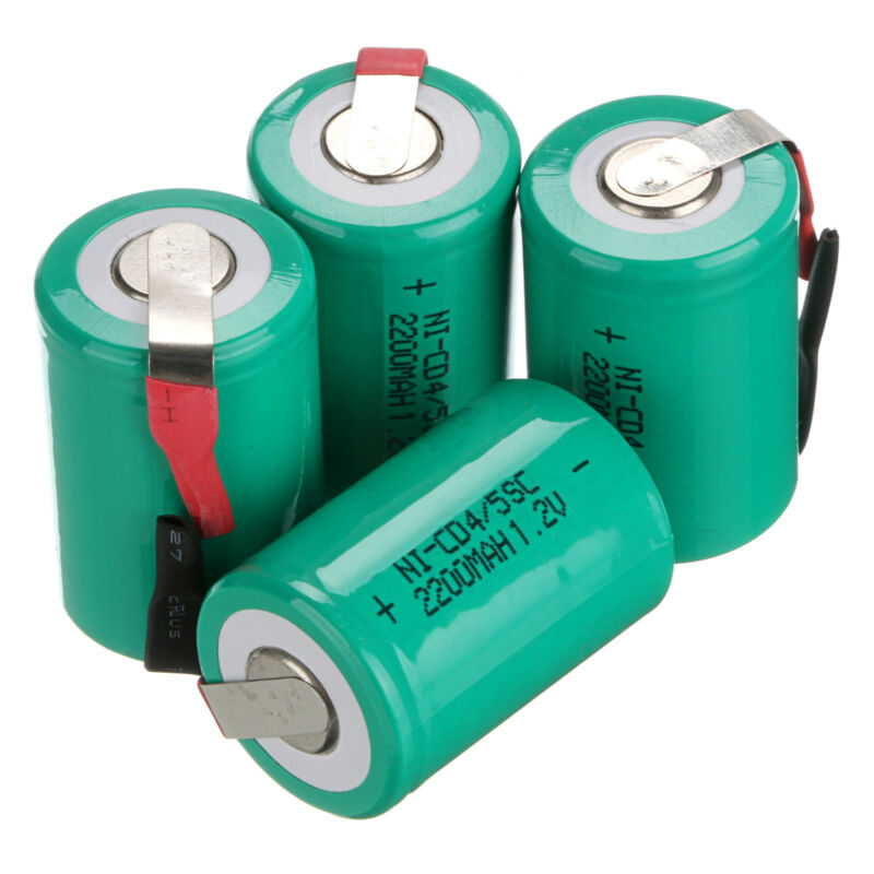 GTF 4PCS 2200mAh 4/5 SC Ni-CD Battery 1.2V Sub C Batteries With Tab For Power Tools
