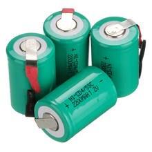 Baterias 2200mah 4/5 sc ni-cd gtf, 4 peças, 1.2v sub c com tab, para alimentação ferramentas,
