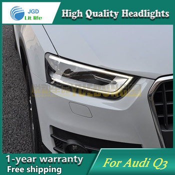 high quality Car styling case for Audi Q3 2013 2014 Headlights LED Headlight DRL Lens Double Beam HID Xenon