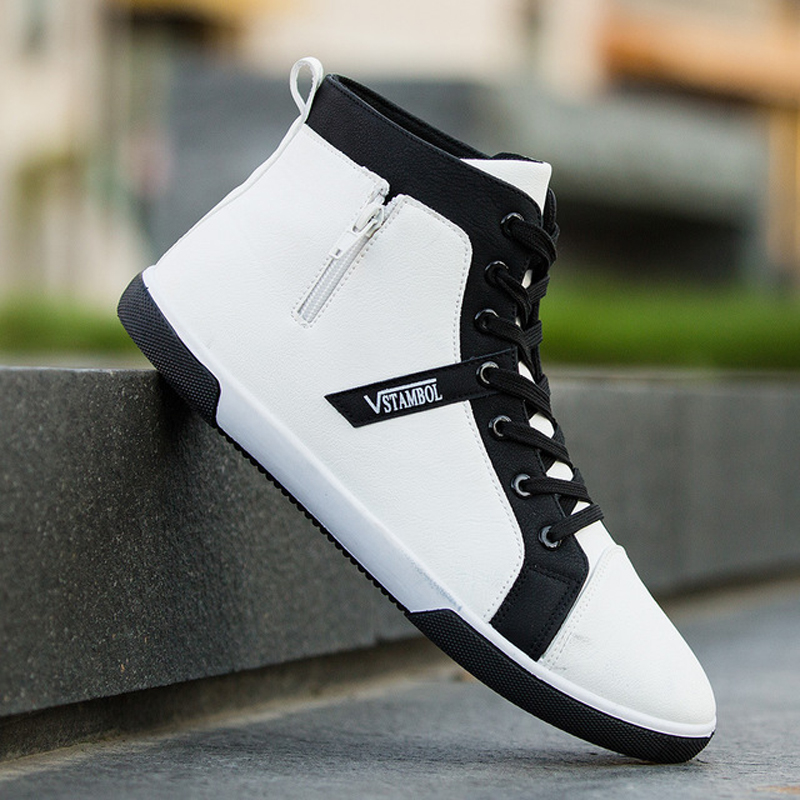 Men's Spring Autumn Shoes Skateboarding Shoes High Top Men British Style Comfortable Sneaker Men's Skateboarding Sneakers Sports