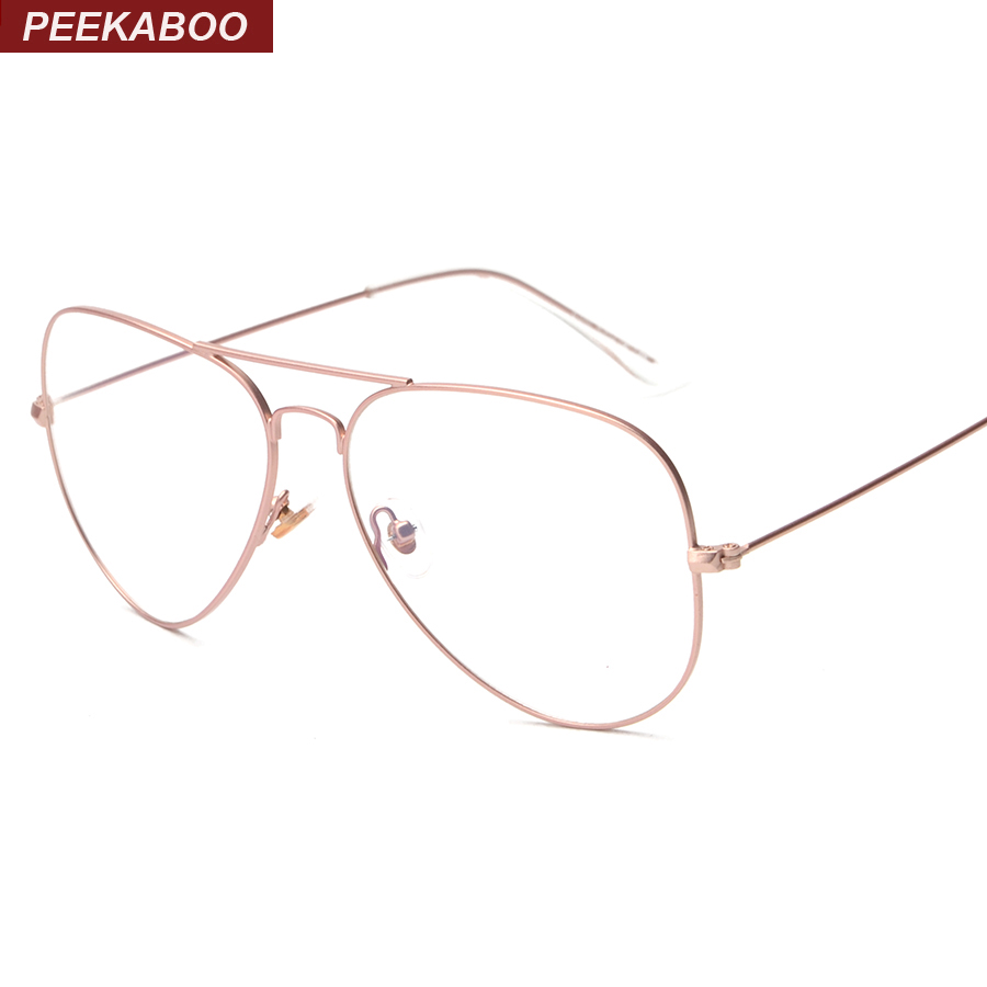 peekaboo rose gold glasses frame women brand thin alloy frame mens optical frames eyeglasses men fashion