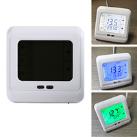 Free Shipping LCD Touch Screen Room Underfloor Thermostat Weekly Programmable Temperature Controller Green Light