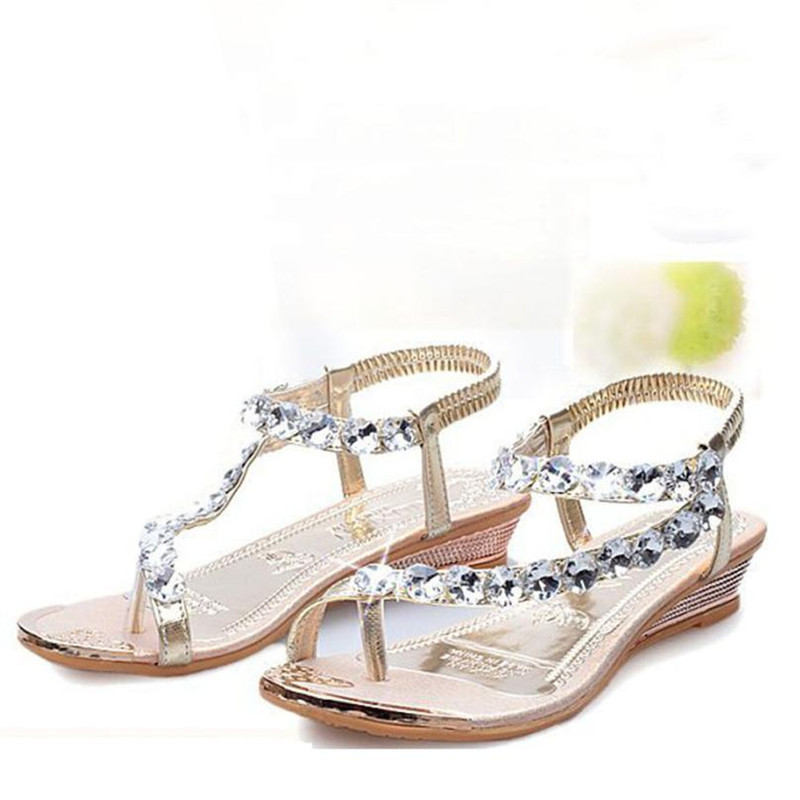Baigoods Woman Summer Sandals Rhinestone Flats Platfor Wedgesm Shoes Flip Flops Youth Girls Hot Sale