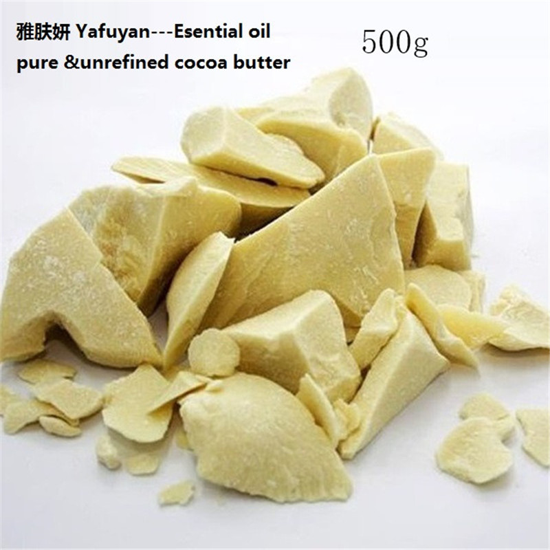 Cosmetics YAFUYAN 500g Pure Cocoa Butter Ounces Raw Unrefined Cocoa Butter Base Oil Natural ORGANIC Essential Oil food grade 500g cosmetic grade 99